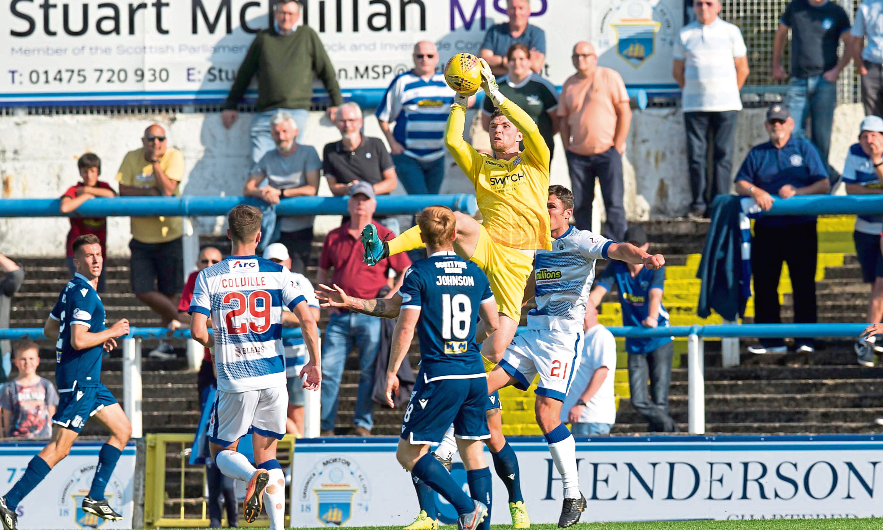 Jack Hamilton gathers a cross during a tie against Greenock in September.