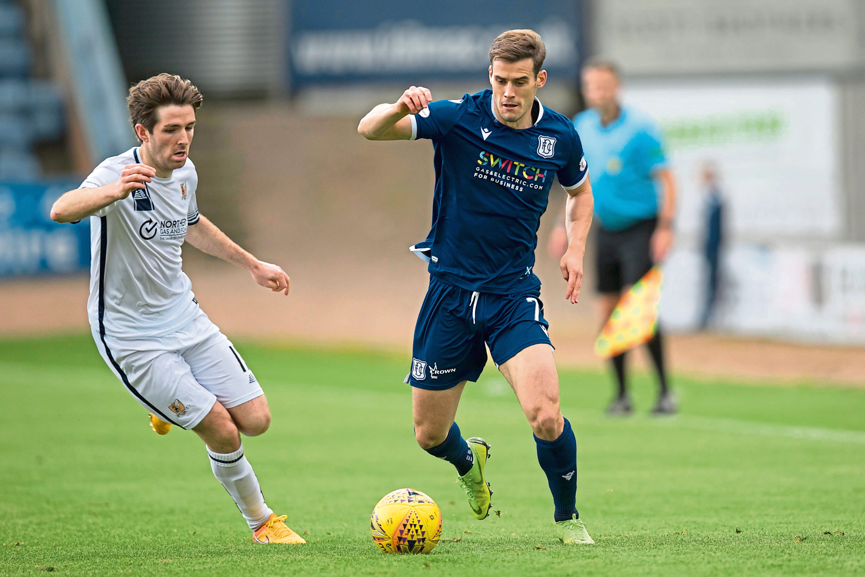 Josh Todd of Dundee runs at Iain Flannigan of Alloa Athletic.