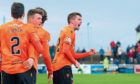 Sam Stanton celebrates his goal against Arbroath.