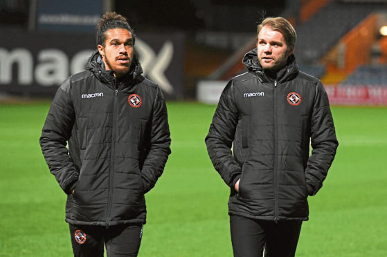 Dundee United's Troy Brown (L) and manager Robbie Neilson.