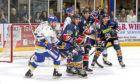 Stars' Jagger Dirk, Kevin Dufour & Colton Kroeker attack the Flyers' goal.