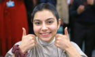The new look Giovanna Mondal, at Harris Academy in Dundee today, after her head shave in aid of the Neo Natal unit at Ninewells Hospital.