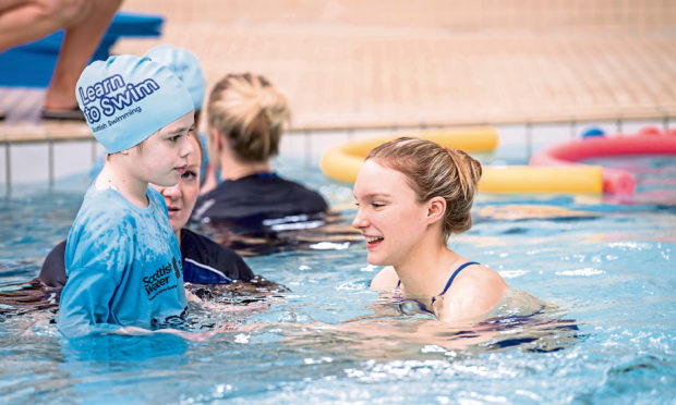 """Toni Shaw (pictured, right) said: """"I'm really proud to be an ambassador for the Learn to Swim Framework and really pleased that children with a disability are taught in inclusive learn to swim environments."""""""
