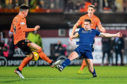Dundee's Cammy Kerr and Lawrence Shankland in action during the derby.