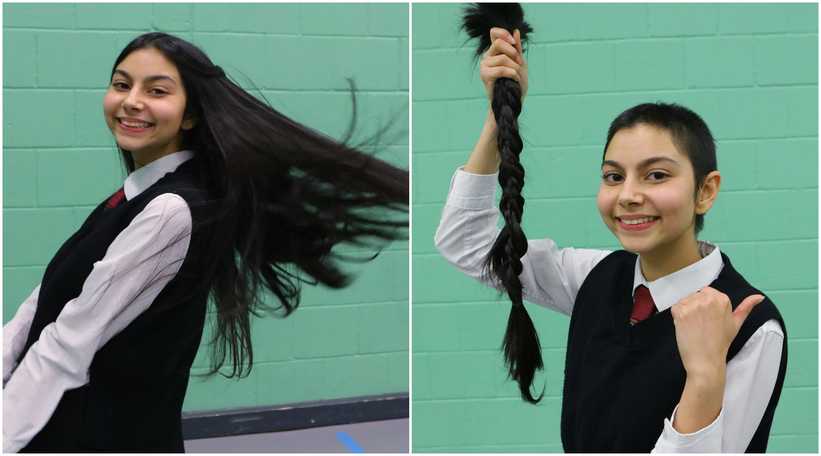 Giovanna Mondal is pictured, left, before having her hair cut off and, right, after the snip.