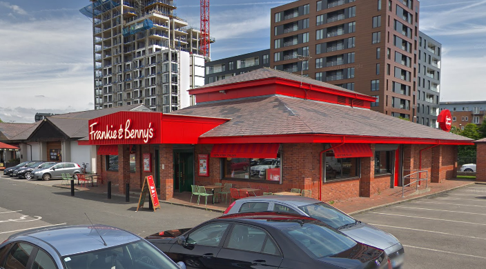 The group were eating at a Frankie & Benny's on Trafford Road when the men burst out of a pub opposite the family diner.