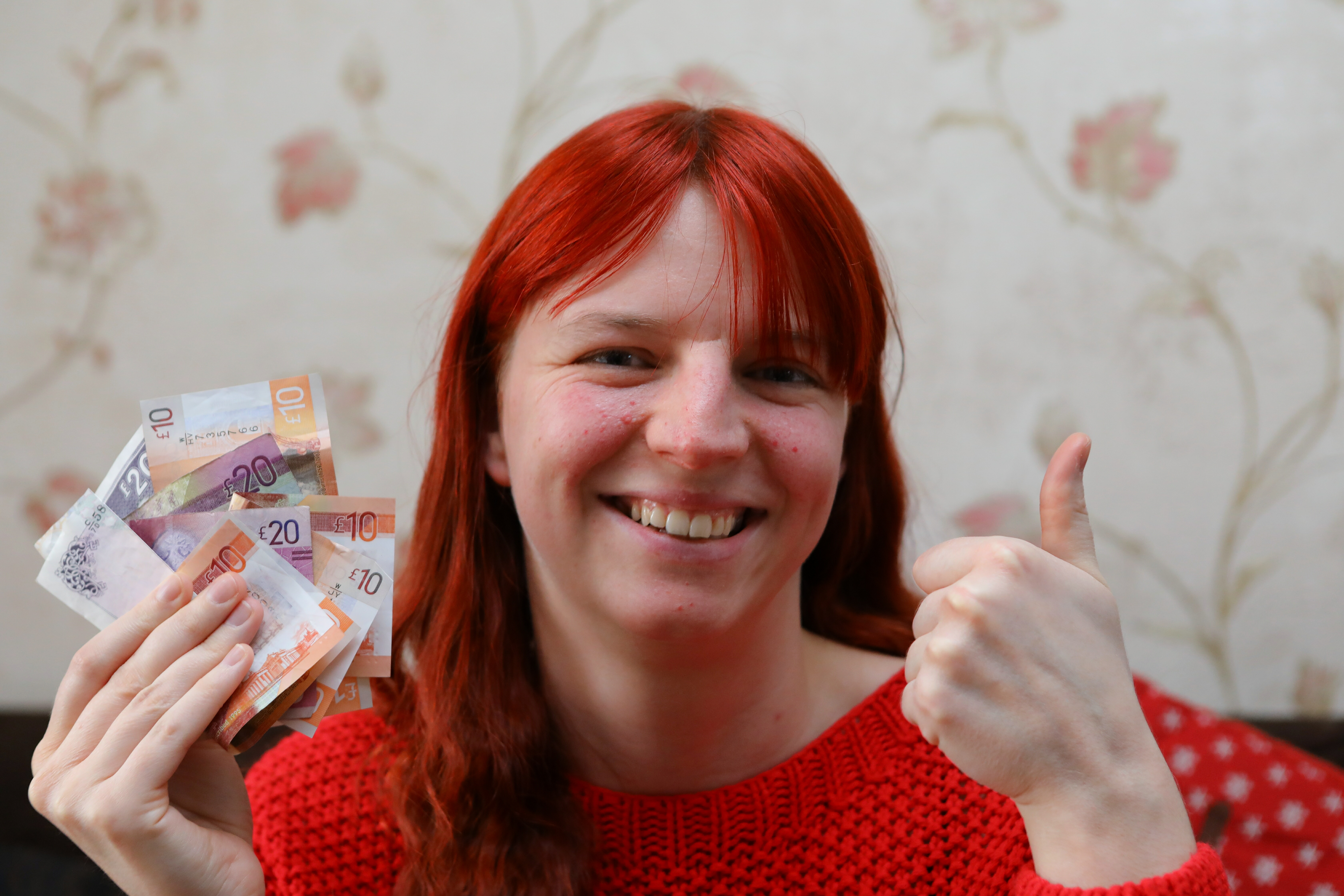 Shonni Cullen with her winnings.