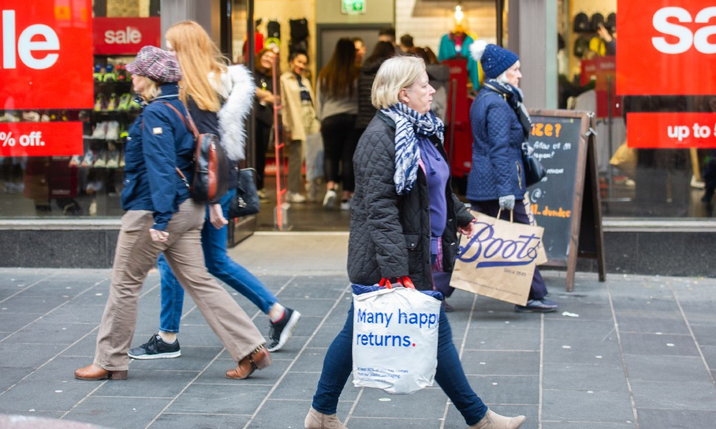 Stock image of the High Street in Dundee.