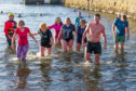 Brave swimmers taking the plunge at the dook last year.