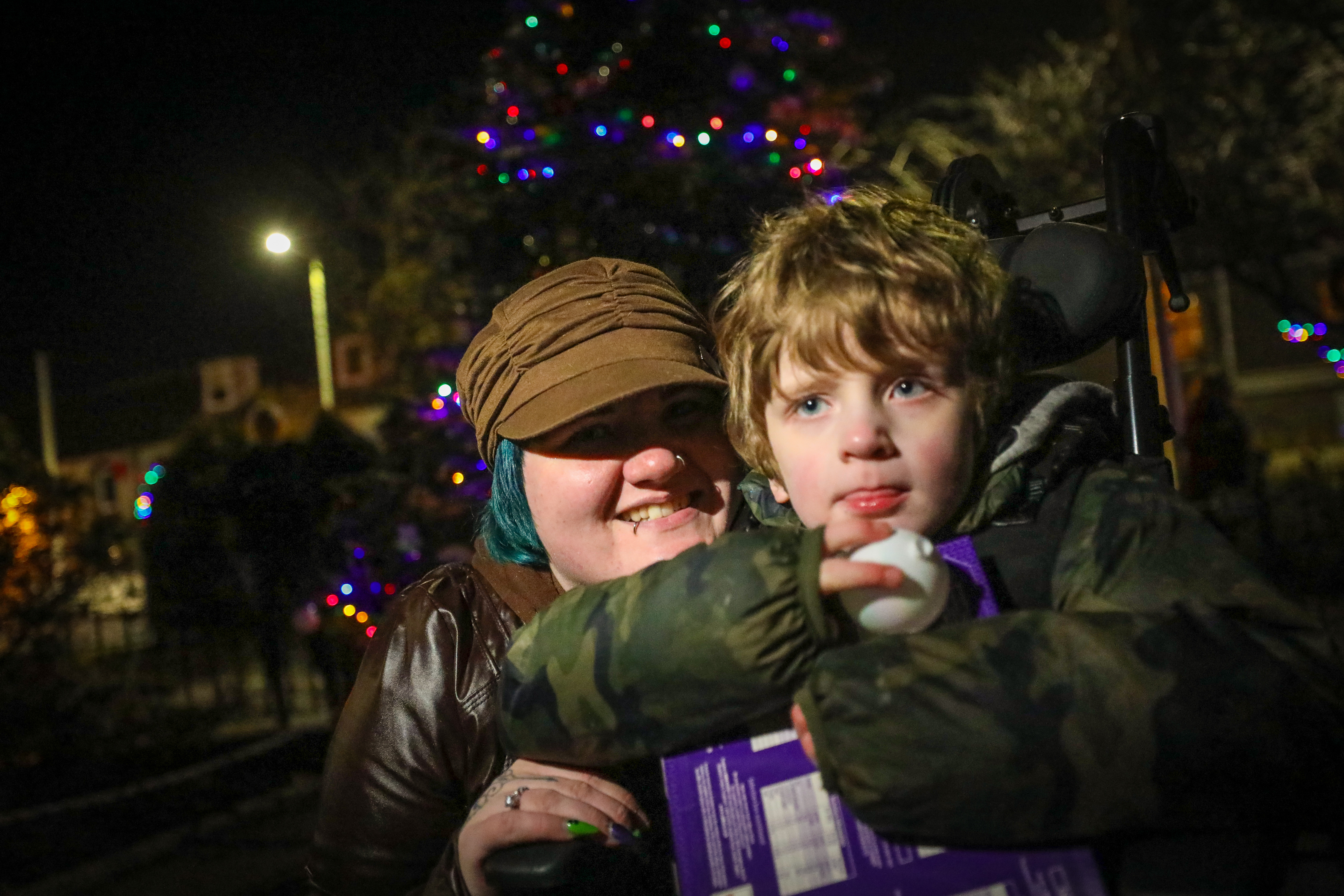 Kade and his Mum, Kassi, enjoyed Invergowrie's Christmas lights
