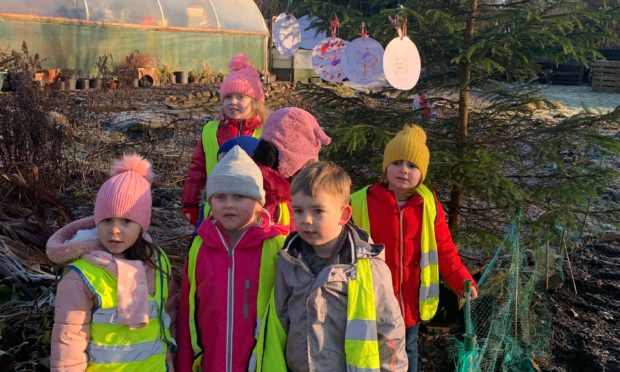 The Law Nursery pupils at the garden.