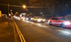 Traffic caused by roadworks on the A930.