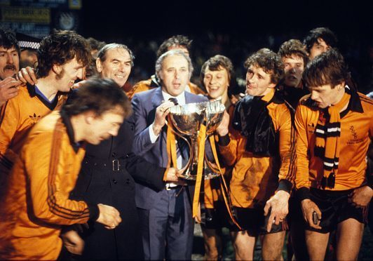Jim McLean with his squad who won the 1979 League Cup.