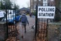 Polling station and dogs at Twickenham, London.
