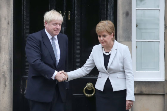Boris Johnson and Nicola Sturgeon outside Bute House. The pair have remained at loggerheads over their opposing stances on Scottish independence.