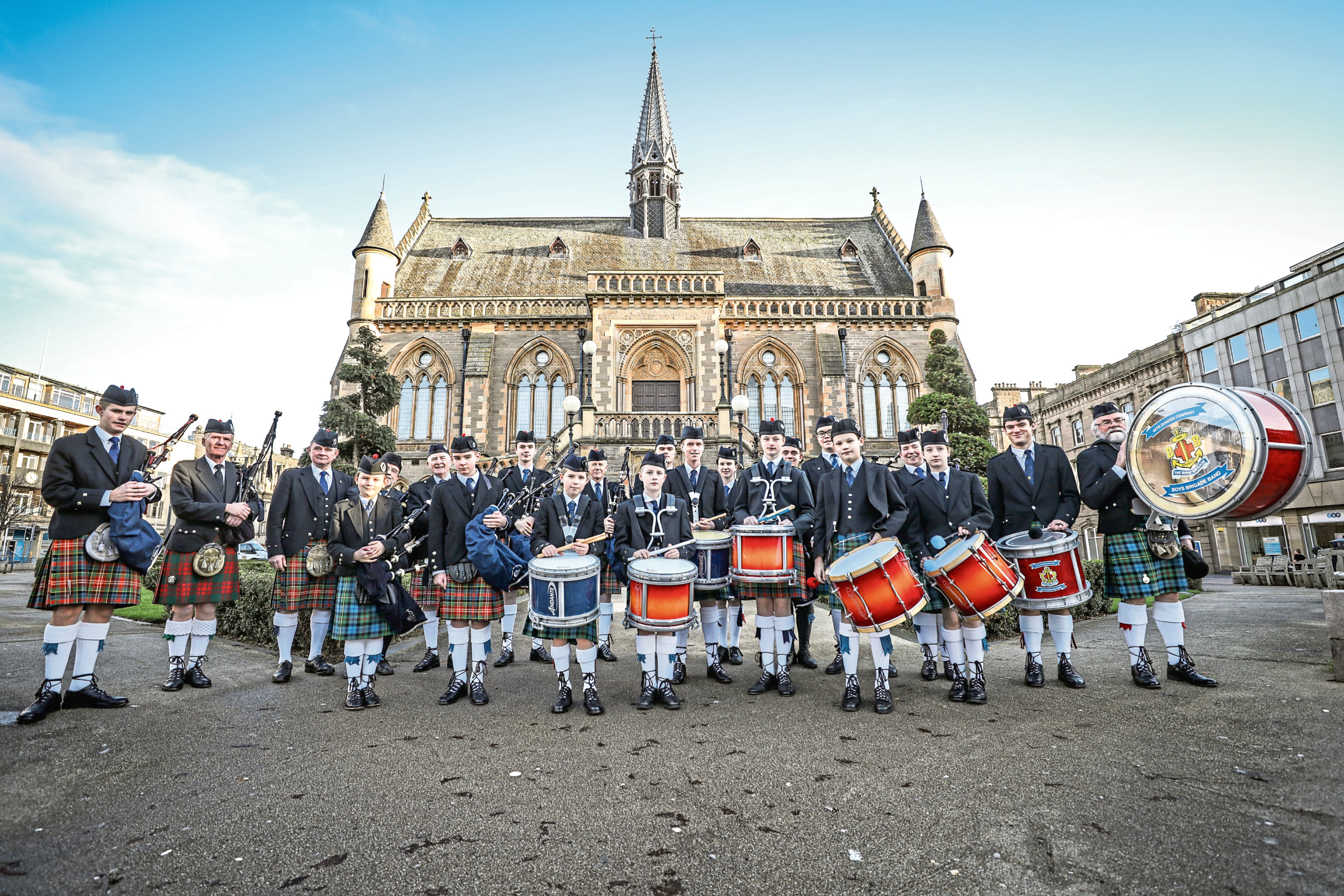 44th Dundee Company, Boys Brigade Pipe Band playing at the McManus first foot event.