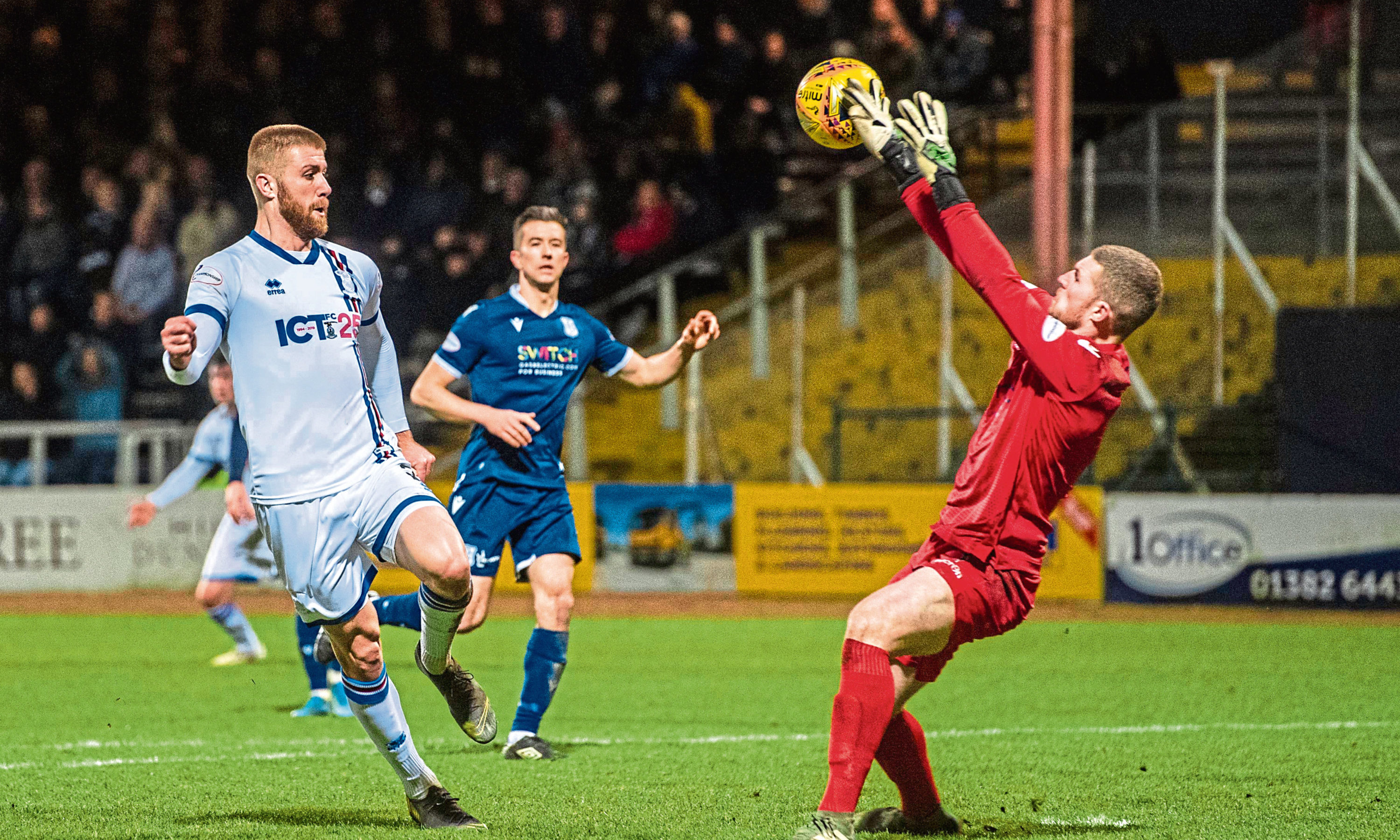ICT's Shaun Rooney sees his shot saved by Dundee goalkeeper Jack Hamilton.