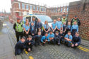 Police officers with P6/7s from St Mary's Primary.