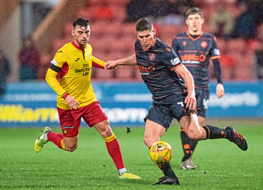 Dundee United's Dillon Powers competes with Reece Cole.