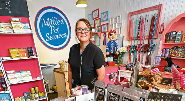 Vicky Gunn in her shop Millie's Pet Services.