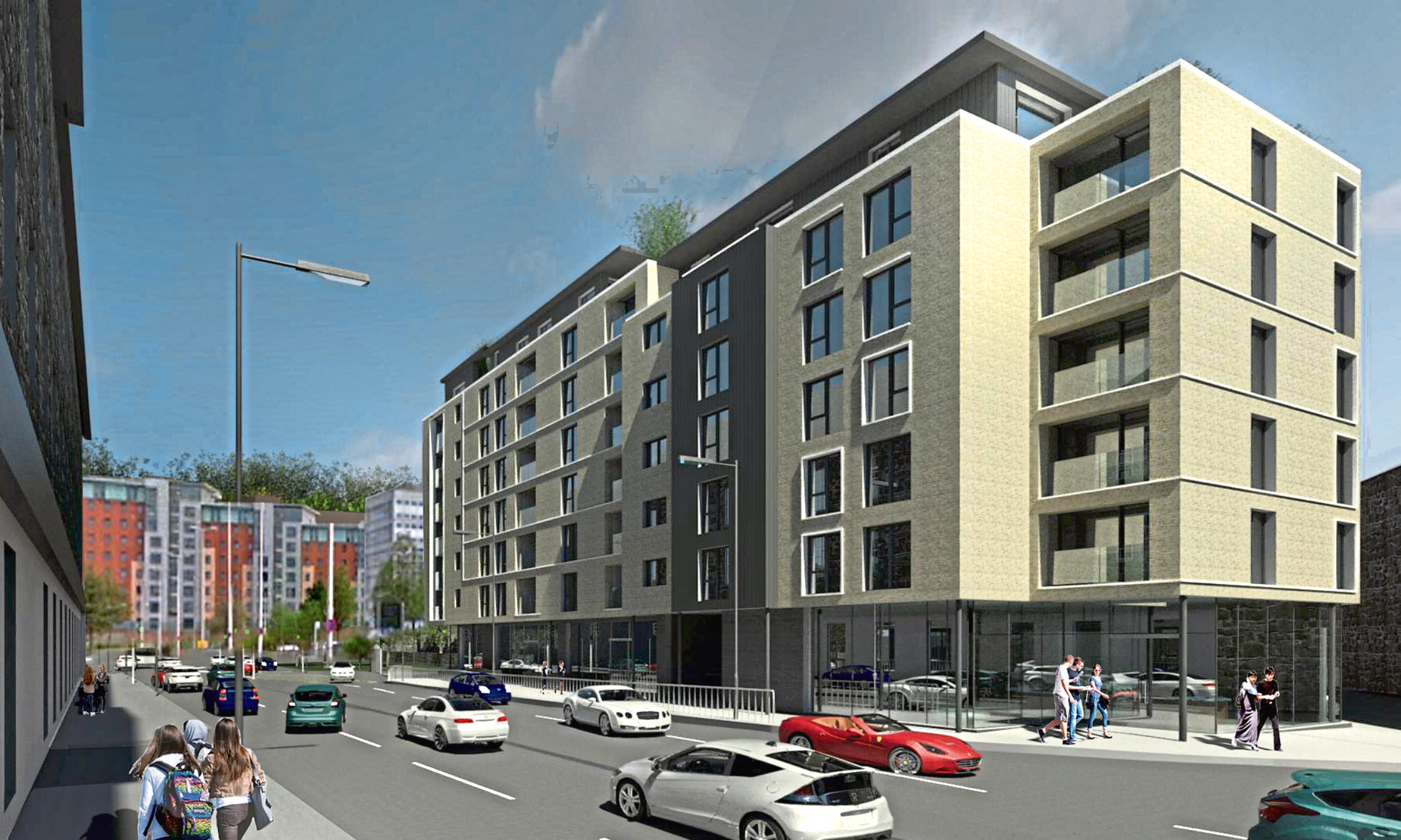 An artist's impression of the original housing and retail development.