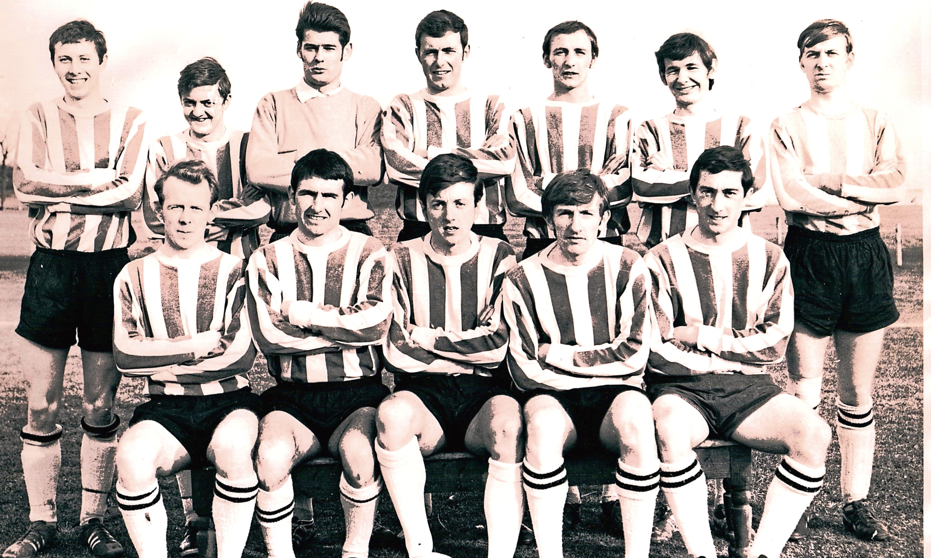 Ally is the keeper in this 1969-70 Broughty United team that won the double of League and North of Tay Cup.