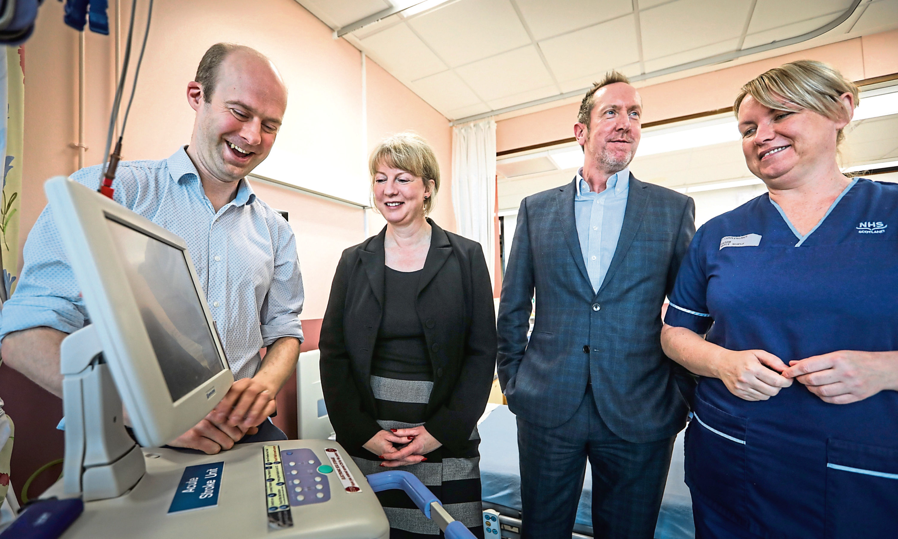 Shona Robison visits the stroke unit at Ninewells to view progress on the new unit.