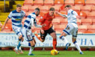 Dundee Utd's Peter Pawlett goes past Morton's Robbie Muirhead, right, and Reghan Tumilty.