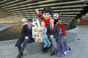 Head of Beano Studios Mike Stirling, comic strip winner Louise Anderson, age 10, Director of V&A Dundee Philip Long, supermodel Eunice Olumide, and Dennis The Menace with Gnasher.