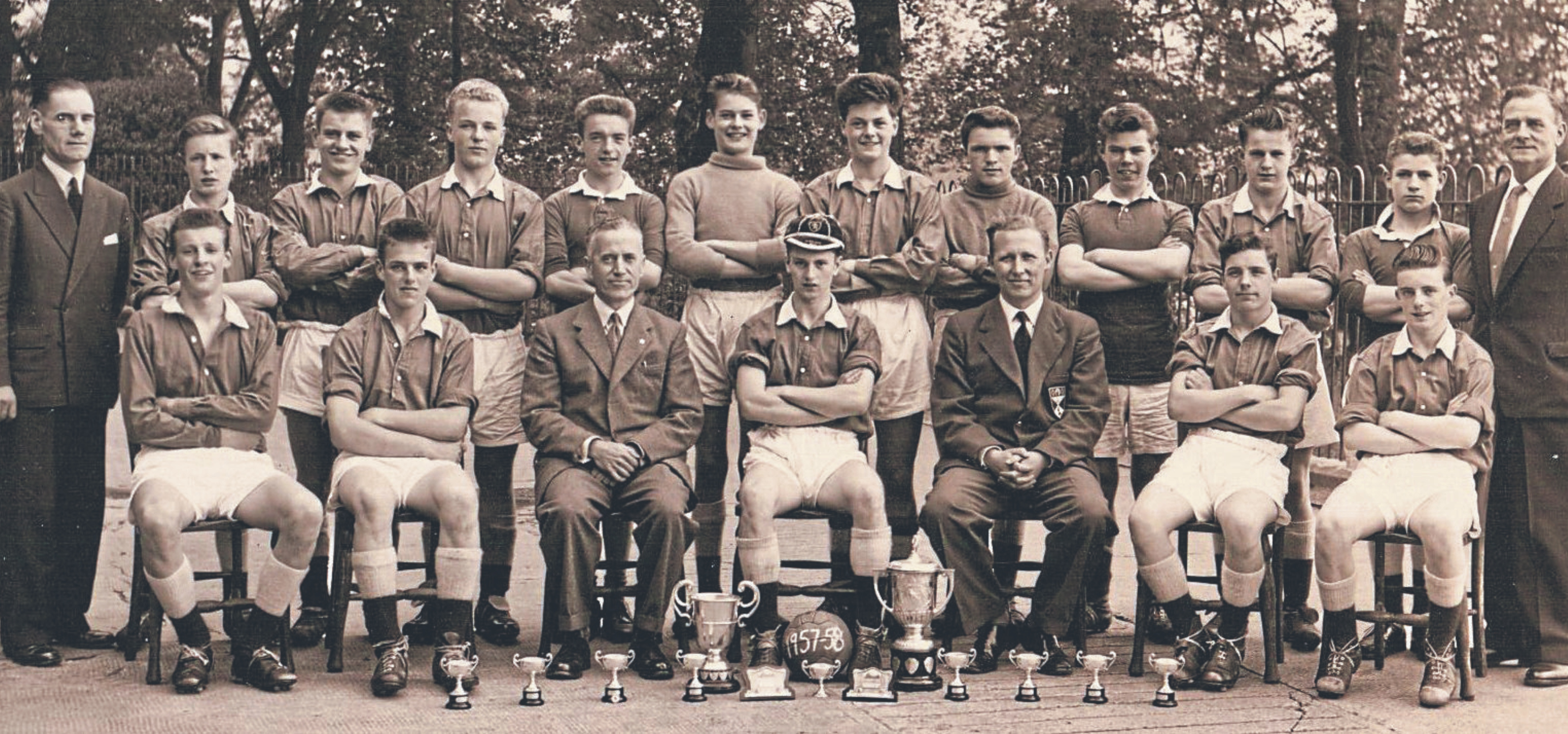 Ally Martin is in this Dundee Schoolboys U/15 Select from season 1957-58, and it also includes other Broughty United players such as Andy Gearie, Mike Lorimer, Ian Sharp, Pat Higgins, Gordon Wallace, Harry Hay, Alex Foster and Ken Cullen.
