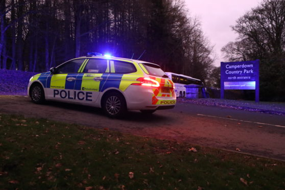 Police at Camperdown Park following the road accident.