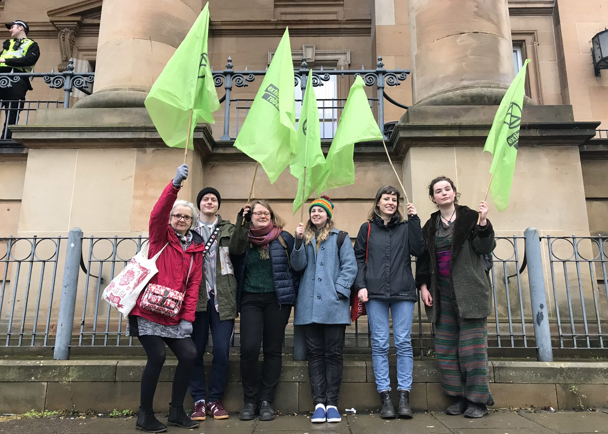 Members of Extinction Rebellion Scotland turned out at Dundee Sheriff Court to show support.