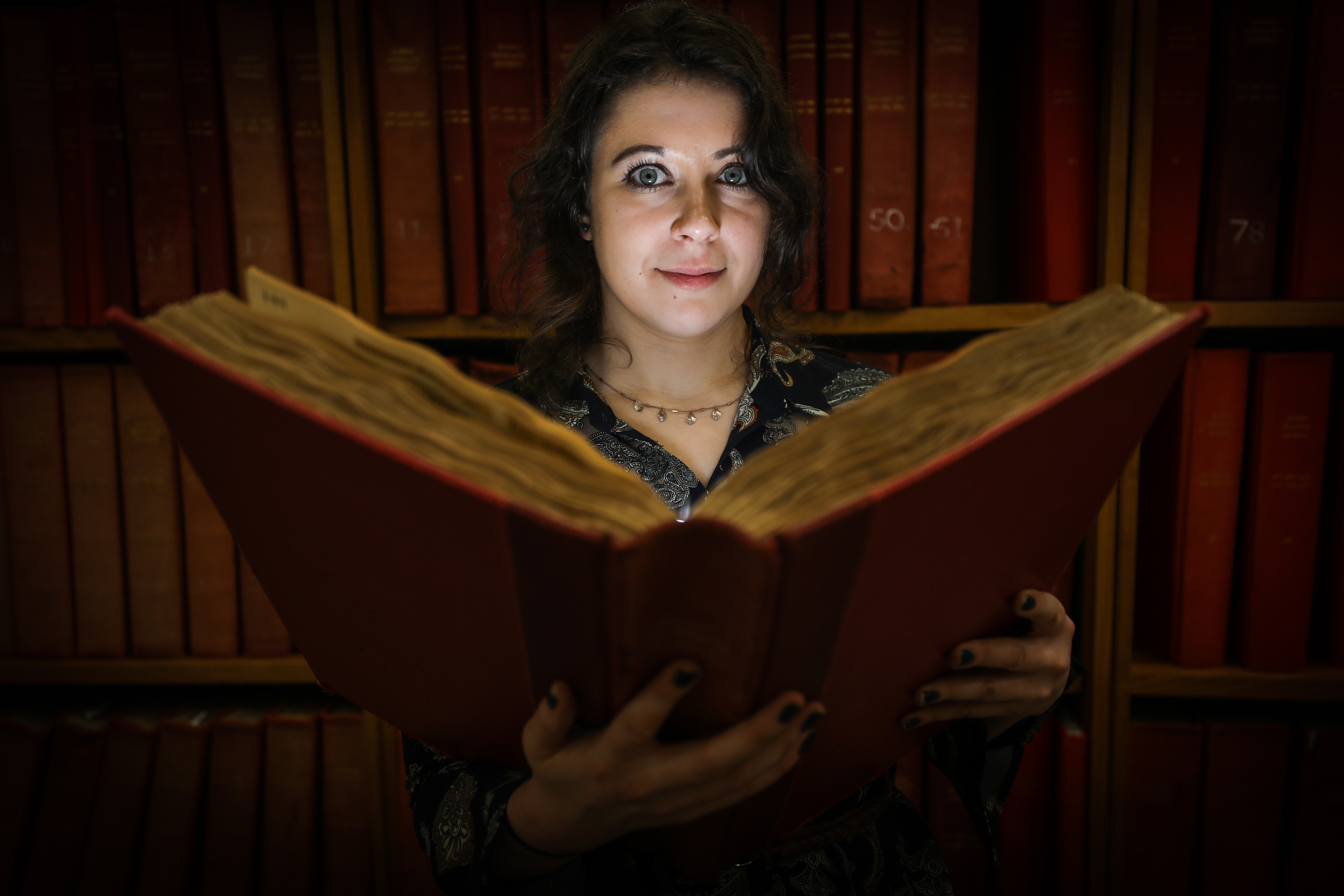 Erin Farley researching her Folklore Collectors lecture at Central Library.