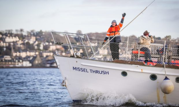 The Missel Thrush boat, which is operated by Taymara.