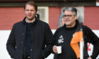 Ian McCall (right) with Dundee United boss Robbie Neilson.