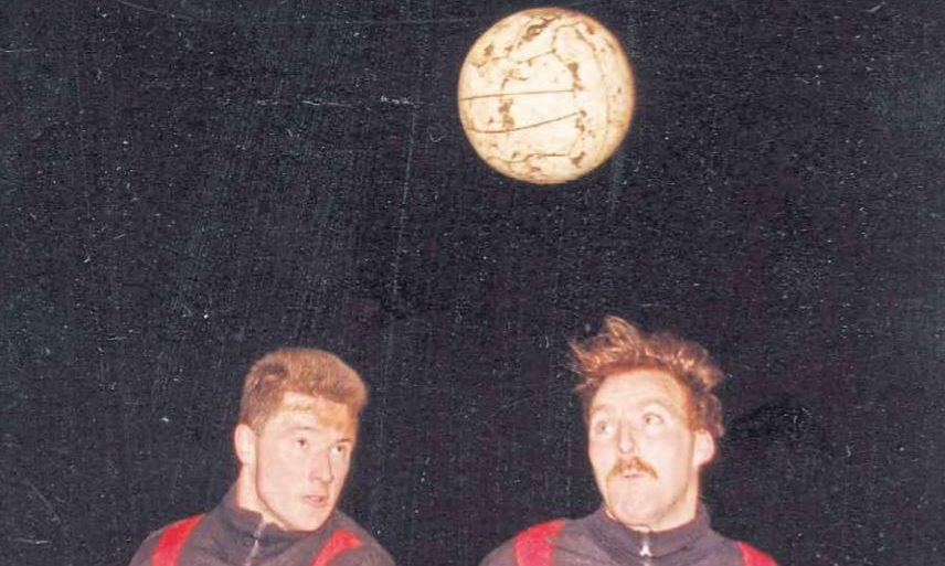 Kenny Jones and Jim McMullin during training for Downfield FC in 1993.