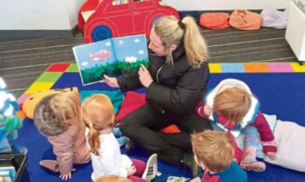 Ninewells Nursery pupils visiting the library.