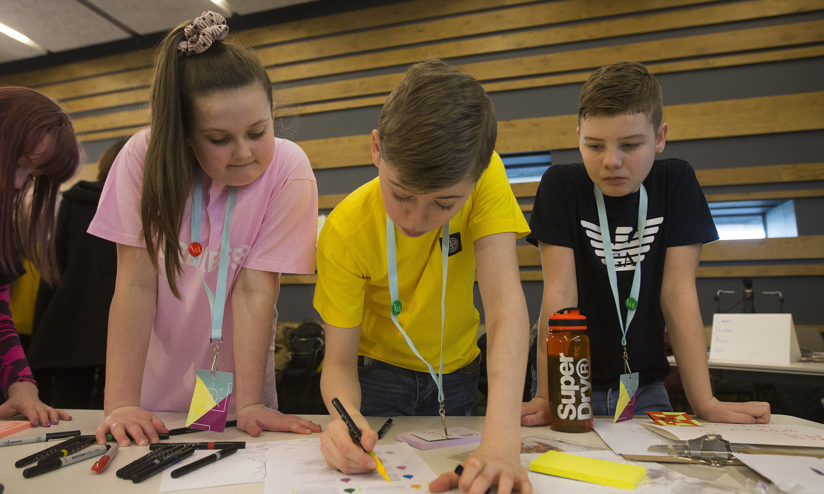 Pupils Ailie Paterson, Junior Healy and Dylan McPhail from St Paul's Academy take part in Schools Design Jam at V&A Dundee.