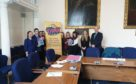 Representatives from the Youth Advisory Group for the Think Before You Type campaign with Convener for Children and Learning, Councillor Derek Wann.