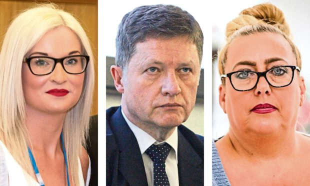 (L-R) Gillian Murray, NHS Tayside chief executive Grant Archibald and Mandy McLaren.