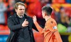 Dundee United manager Robbie Neilson (L) is pictured with Declan Glass.