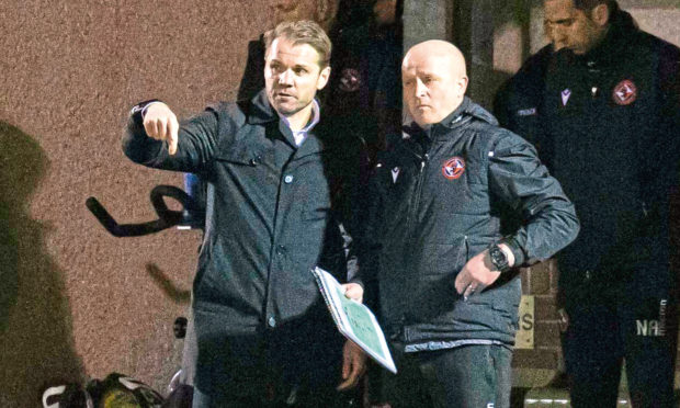 Dundee United manager Robbie Neilson (left) during the tie with Alloa.