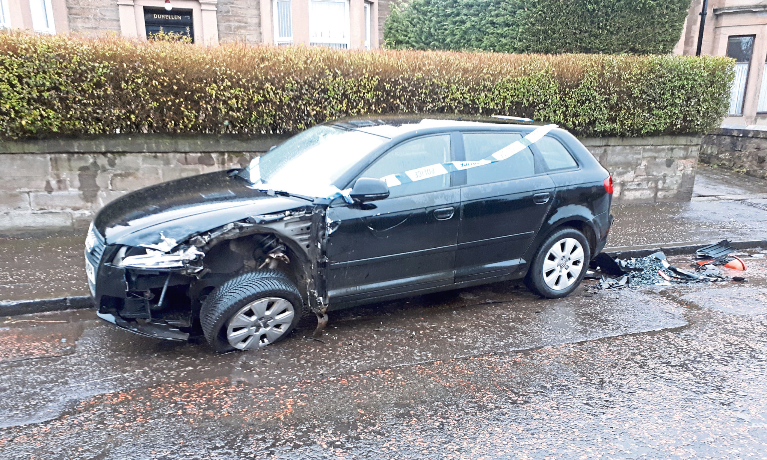 The damaged Audi on Clepington Road.
