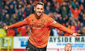 Nicky Clark celebrates a goal against Ayr United earlier this season.