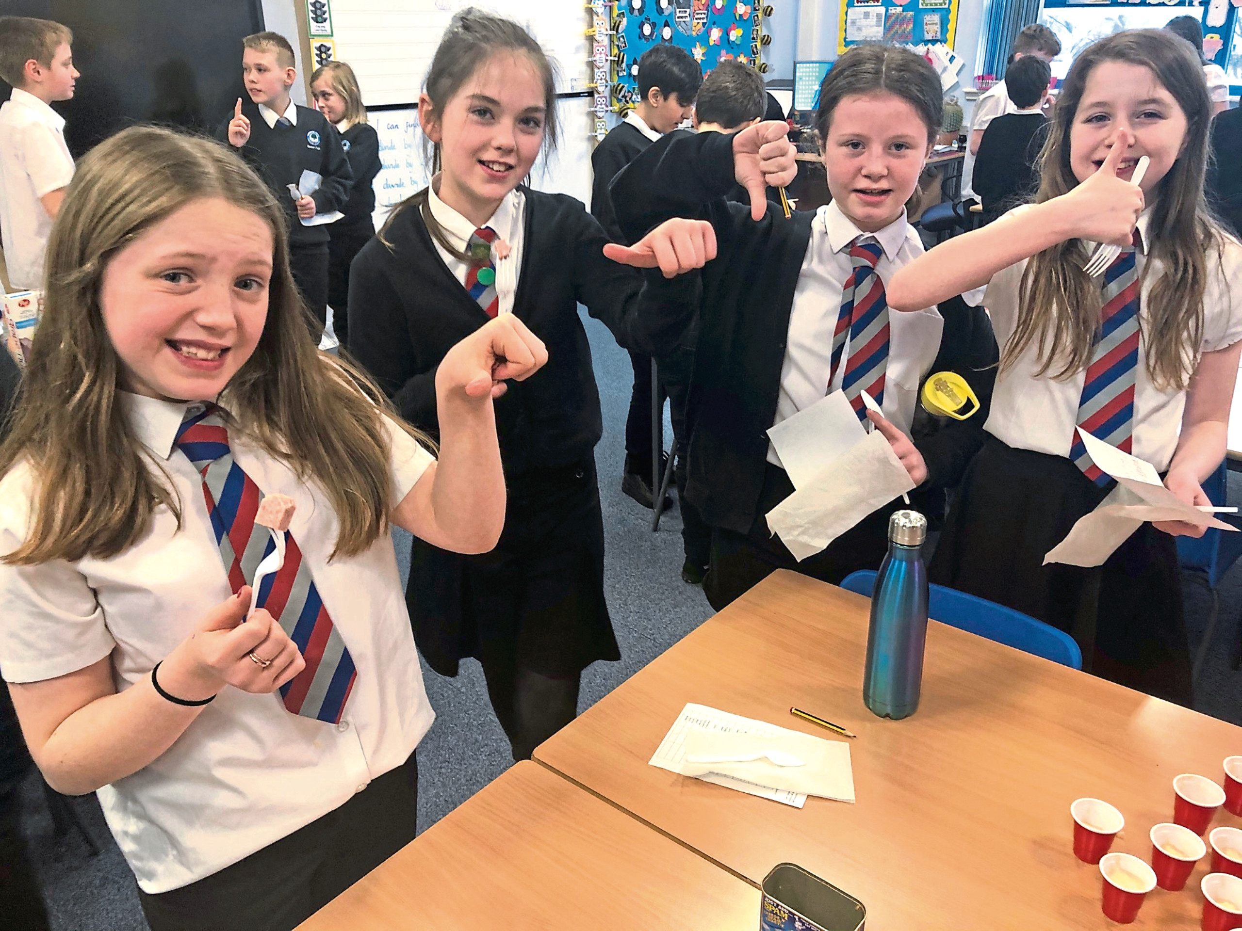 Pupils at Victoria Park Primary tried foods from the war as part of their project.