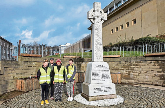 Police Scotland Youth Volunteers at the Dundee War Memorial.