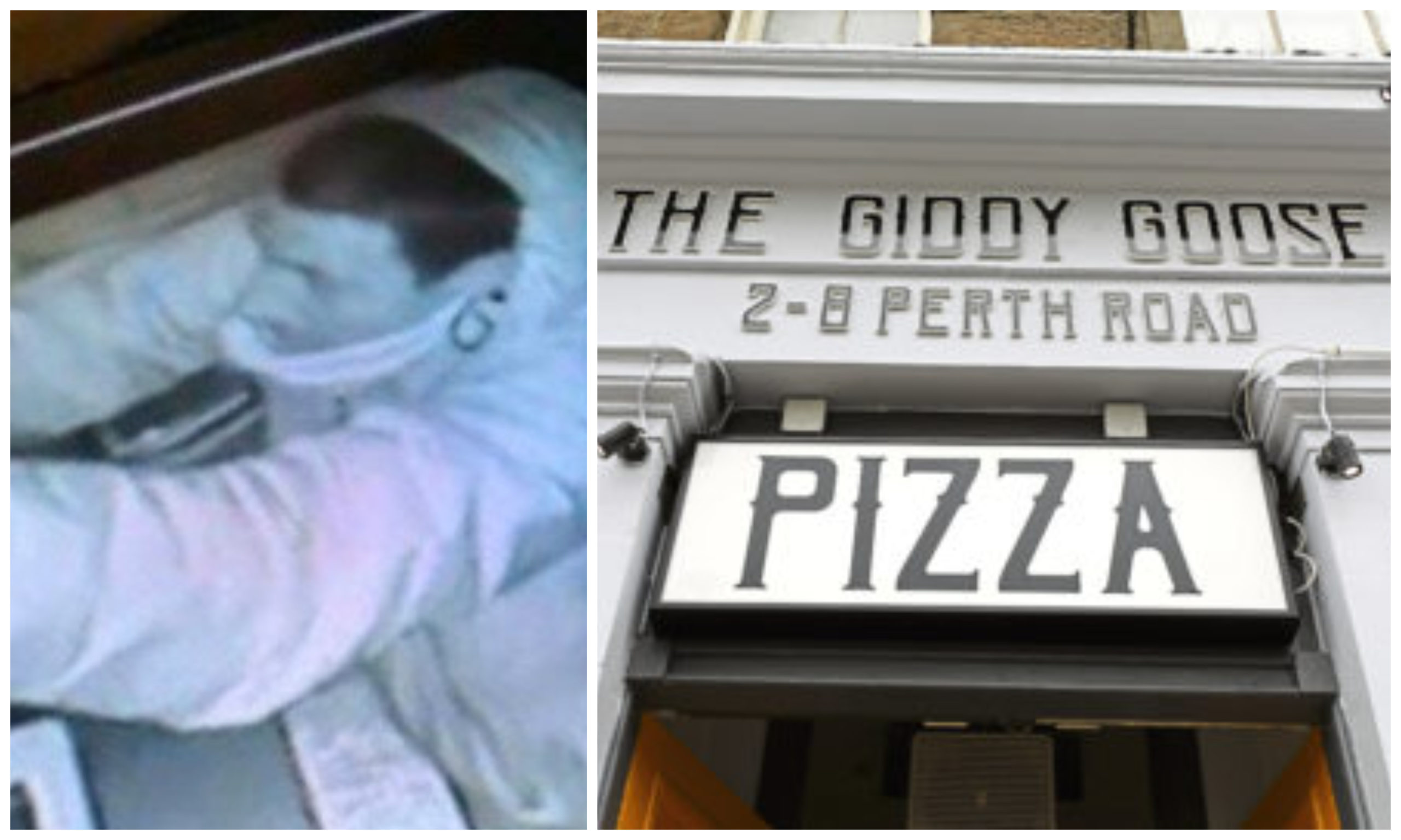 The thief was caught on CCTV at The Giddy Goose on Perth Road, Dundee.