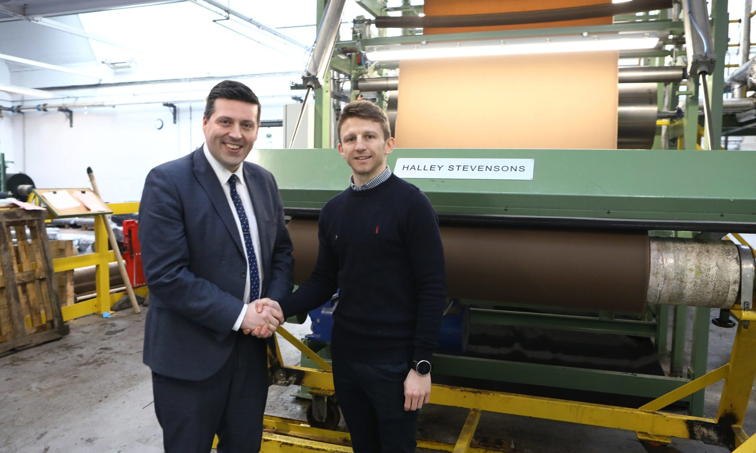 Minister for Business, Fair Work and Skills Jamie Hepburn, left, with Production Manager Billy Tosh, during the visit to Halley Stevensons in Dundee.