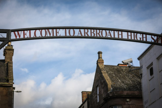 Welcome to Arbroath High Street sign.