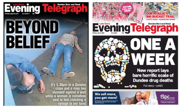 The 'Beyond Belief' front page (left) is the second Tele cover to win an award this year, following the 'One a Week' issue, which also discusses Dundee's horrific drugs problem, which won best front page of 2019.